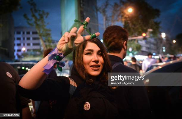 Supporters of President Hassan Rouhani celebrate after the results of the Iran vote were announced in Tehran Iran on May 20 2017