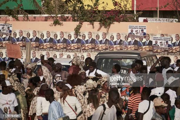 Supporters of president Macky Sall gather at Leopold Sedar Senghor stadium during his final rally on February 22 2019 in Dakar Senegal Senegal...