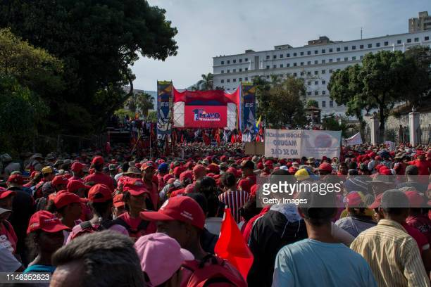Supporters of president Nicolás Maduro gather near Miraflores Palace during a demonstration on May 01 2019 in Caracas Venezuela Yesterday Venezuelan...