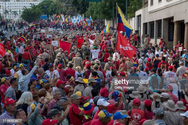 Supporters of president Nicolás Maduro march near Miraflores Palace during a demonstration on May 01 2019 in Caracas Venezuela Yesterday Venezuelan...