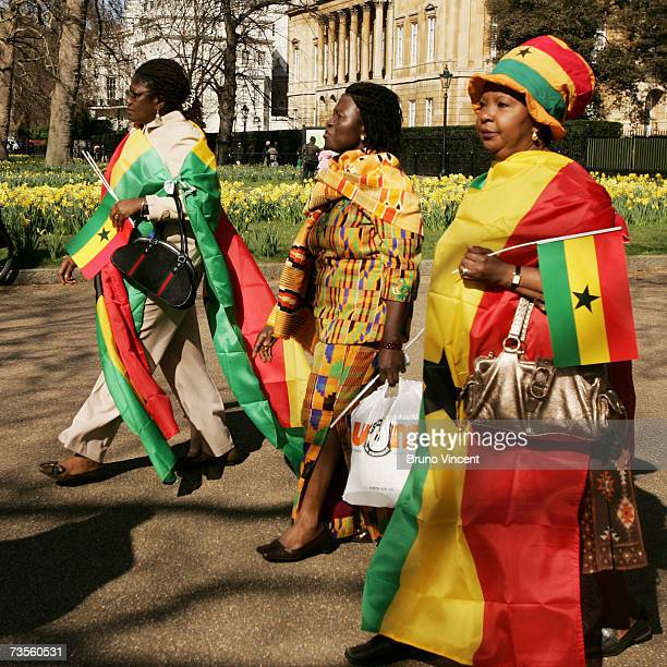 Supporters of President of Ghana John Kufuor walk along The Mall on March 13 2007 in London England The President will attend a State Banquet with...