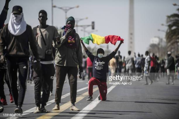 """Supporters of President of the political party PASTEF-Les Patriotes """"Patriots of Senegal for Ethics, Work and Fraternity, Ousmane Sonko block the..."""