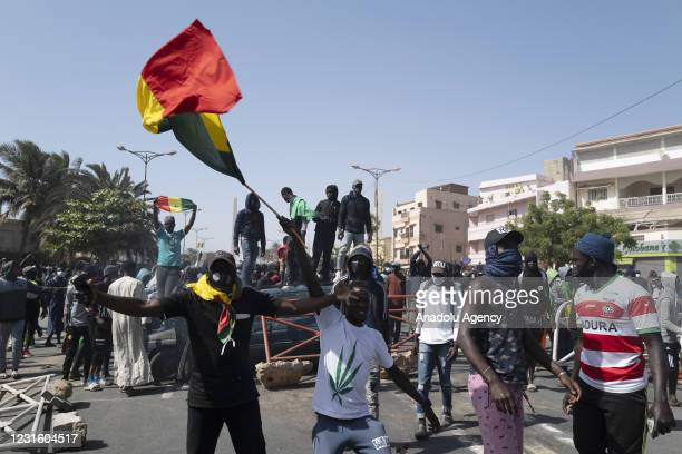 """Supporters of President of the political party PASTEF-Les Patriotes """"Patriots of Senegal for Ethics, Work and Fraternity, Ousmane Sonko rally..."""