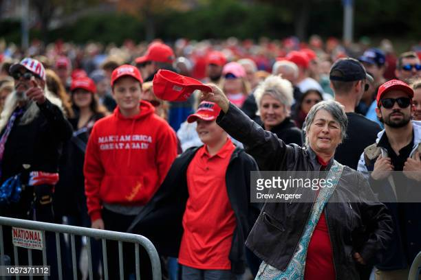 Supporters of President Trump line up to get in to McKenzie Arena where US President Donald Trump is holding a rally in support of Republican Senate...