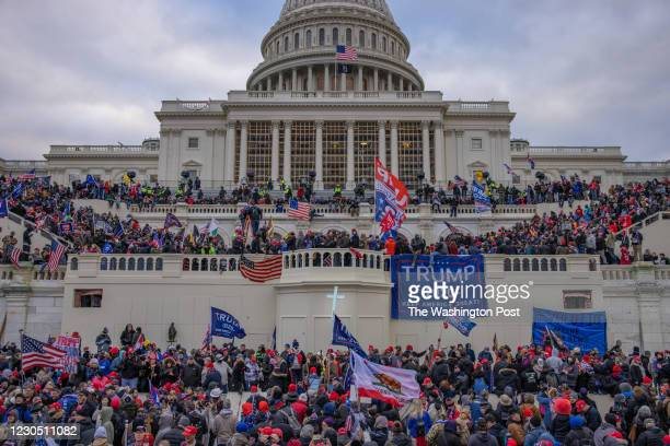 Supporters of President Trump storm the United States Capitol building.