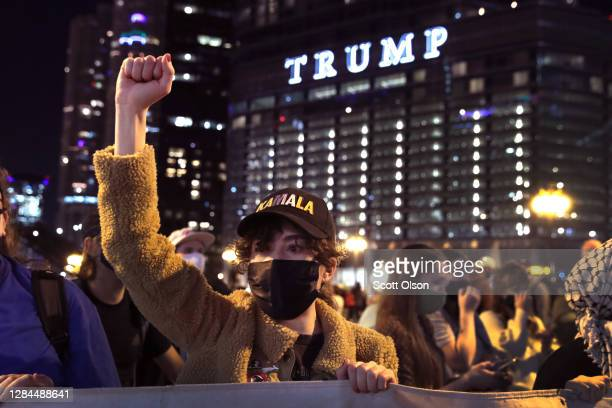 Supporters of President-elect Joe Biden celebrate downtown near Trump Tower after several major news outlets declared Biden the winner in the 2020...