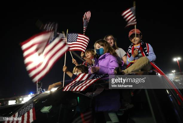 Supporters of President-elect Joe Biden wait outside the Chase Center for Biden to address the nation November 07, 2020 in Wilmington, Delaware....