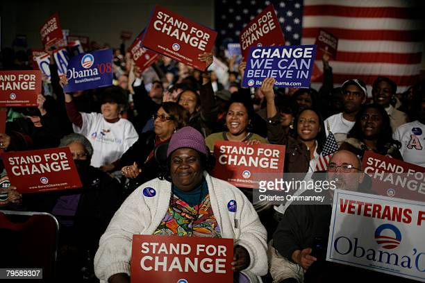 Supporters of Presidential candidate Sen. Barack Obama and his wife Michelle Obama at the victory rally at the Columbia Metropolitan Convention...