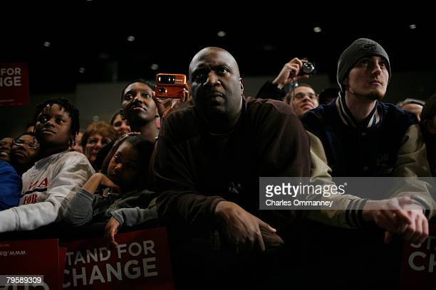 Supporters of Presidential candidate Sen Barack Obama and his wife Michelle Obama at the victory rally at the Columbia Metropolitan Convention Center...