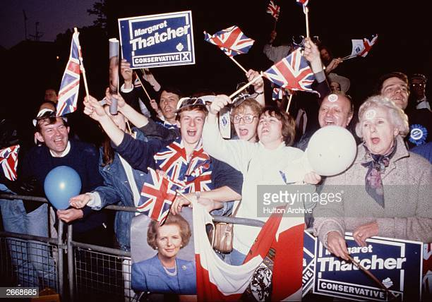 Supporters of Prime Minister Margaret Thatcher on the night when the Conservative Party won its third consecutive election on June 11, 1987 in United...