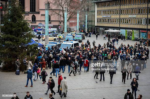 Supporters of Pro NRW a rightwing populist group that has campaigned against the construction of new mosques in the German state of North...