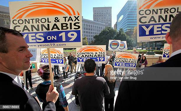 Supporters of Prop 19 a marijuana legalization initiative rally on the steps of Oakland City hall in Oakland Tuesday morning November 2 2010