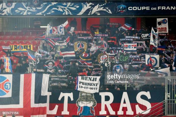 Supporters of PSG during the french National Cup match between Rennes and Paris Saint Germain PSG on January 7 2018 in Rennes France