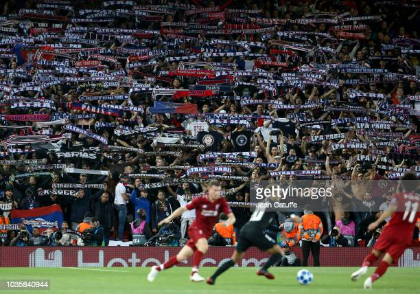Supporters of PSG during the Group C match of the UEFA Champions League between Liverpool FC and Paris SaintGermain at Anfield on September 18 2018...