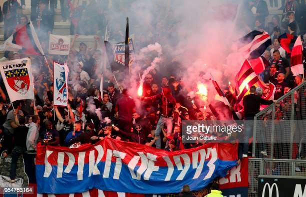 Supporters of PSG during the Ligue 1 match between Amiens SC and Paris Saint Germain at Stade de la Licorne on May 4 2018 in Amiens France