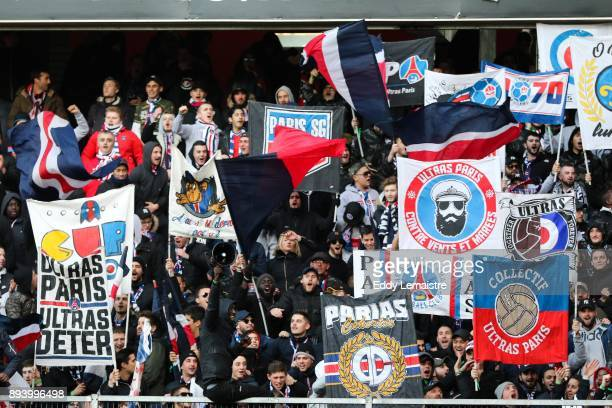 Supporters of PSG during the Ligue 1 match between Stade Rennes and Paris Saint Germain at Roazhon Park on December 16 2017 in Rennes