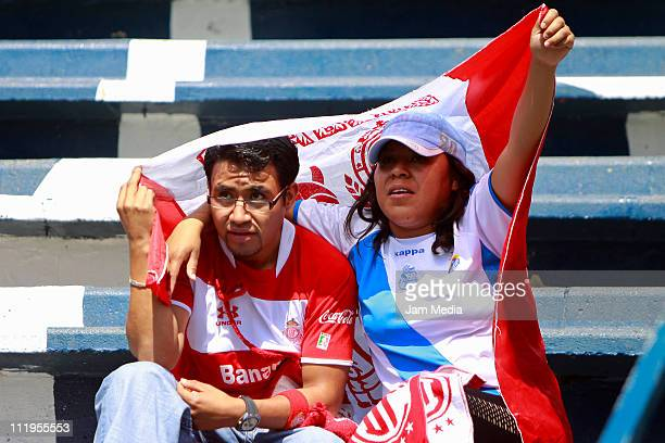 Supporters of Puebla and Toluca before a match as part of the Clausura Tournament at Cuauhtemoc Stadium on April 10 2011 in Puebla Mexico