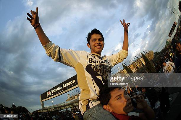 Supporters of Pumas outside the stadium before a match between America and Pumas as part of the 2010 Bicentenary Tournament at Azteca Stadium on...
