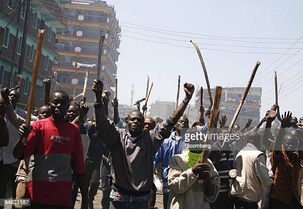 Supporters of Raila Odinga the opposition presidential candidate protest on the streets of Nairobi Kenya on Wednesday Jan 2 2008 Kenyan President...