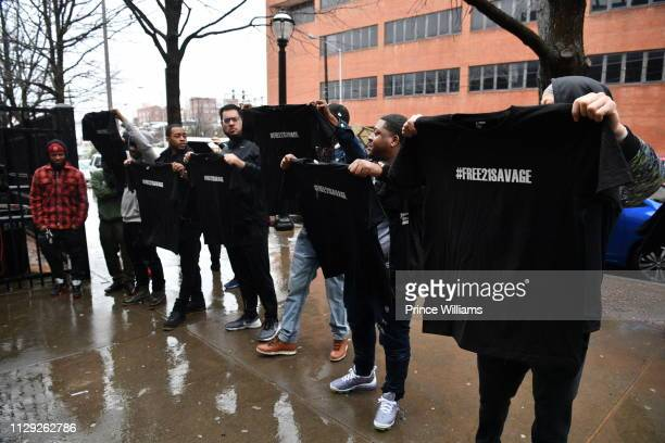 Supporters of rapper 21 Savage attend #Free21Savage Rally at The Atlanta Immigration Court on February 12 2019 in Atlanta Georgia