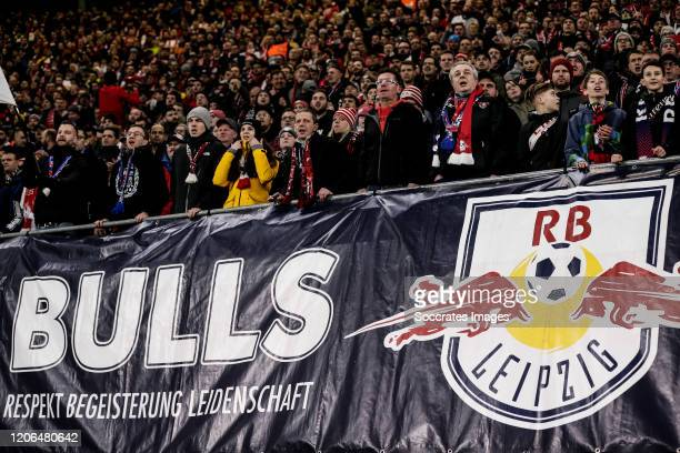 Supporters of RB Leipzig during the UEFA Champions League match between RB Leipzig v Tottenham Hotspur at the Red Bull Arena on March 10, 2020 in...