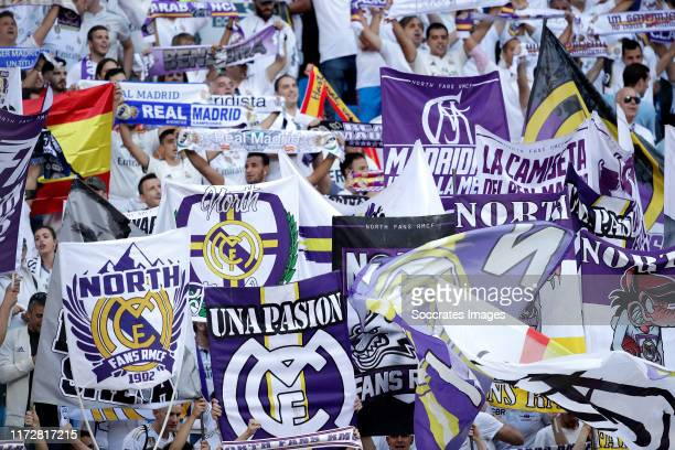 Supporters of Real Madrid during the UEFA Champions League match between Real Madrid v Club Brugge at the Santiago Bernabeu on October 1, 2019 in...