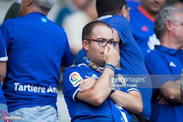 Supporters of Real Oviedo during the match between Real Oviedo v Real Zaragoza at the Estadio Carlos Tartiere on September 8, 2018 in Oviedo Spain