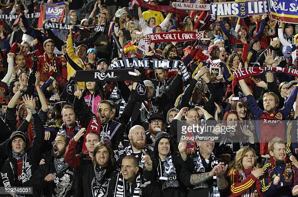 Supporters of Real Salt Lake celebrate as they retained the Rocky Mountain Cup after playing to a 0-0 tie with the Colorado Rapids at Dick's Sporting...