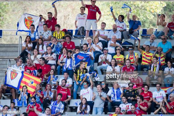 Supporters of Real Zaragoza during the match between Real Oviedo v Real Zaragoza at the Estadio Carlos Tartiere on September 8, 2018 in Oviedo Spain