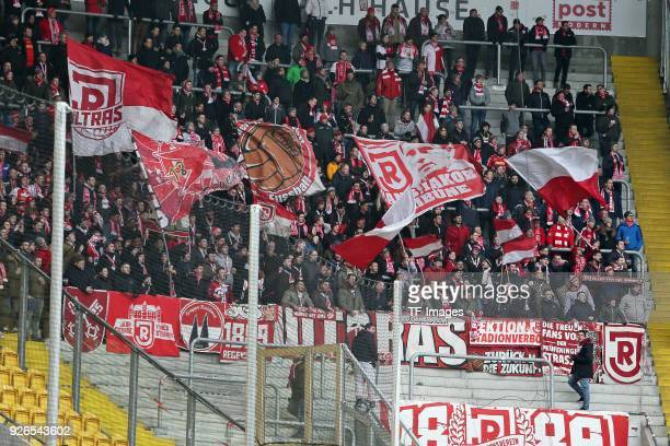 Supporters of Regensburg are seen during the Second Bundesliga match between SG Dynamo Dresden and SSV Jahn Regensburg at DDVStadion on February 18...