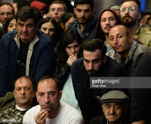 Supporters of Republican People's Party watch the polling results during a referendum in Ankara April 16 2017 Turkey Millions of Turks are heading to...