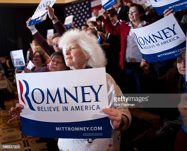 Supporters of Republican presidential candidate and former MA Governor Mitt Romney waiting for Romney to speak at his campaign event on Super Tuesday...