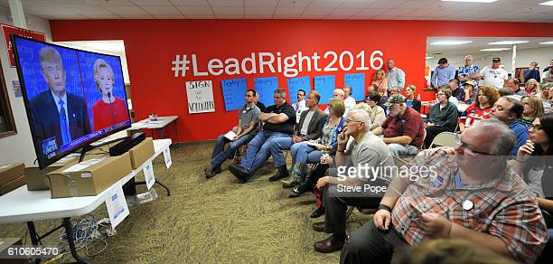 Supporters of Republican Presidential candidate Donald Trump listen to the first of three presidential debates on September 26 2016 at the Trump...