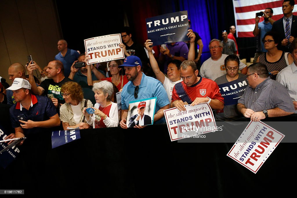 Supporters of Republican presidential candidate Donald Trump wait along the rope line following a town hall meeting on March 14, 2016 at the Tampa Convention Center in Tampa , Florida. Trump is campaigning ahead of the Florida primary on March 15.