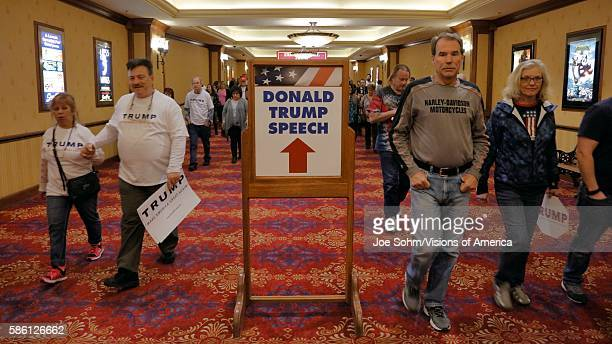 Supporters of Republican presidential candidate Donald Trump where he speaks at the South Point Arena Casino a day before Nevada's First in the West...
