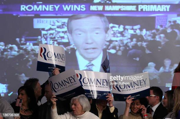 Supporters of Republican presidential candidate former Massachusetts Gov Mitt Romney celebrate during his primary night party at Southern New...