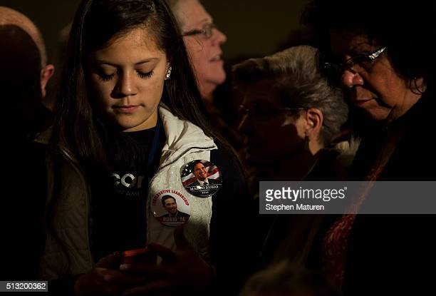 Supporters of Republican presidential candidate Sen Marco Rubio wait for him to speak speaks at Courtyards of Andover Event Center in Andover MN...