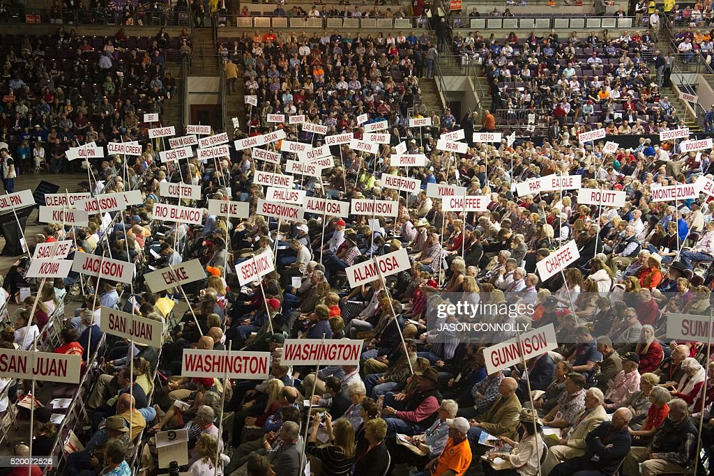 TOPSHOT - Supporters of Republican presidential candidate Sen. Ted Cruz attend the Republican Convention at The Broadmoor World Arena in Colorado Springs, Colorado on April 9, 2016. / AFP / Jason Connolly