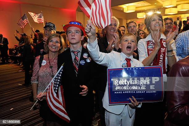 TOPSHOT Supporters of Republican presidential nominee Donald Trump celebrate after Trump was declared as the winner of the US election while...