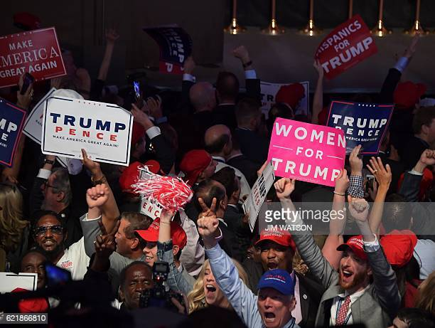 Supporters of Republican presidential nominee Donald Trump cheer during election night at the New York Hilton Midtown in New York on November 9 2016...