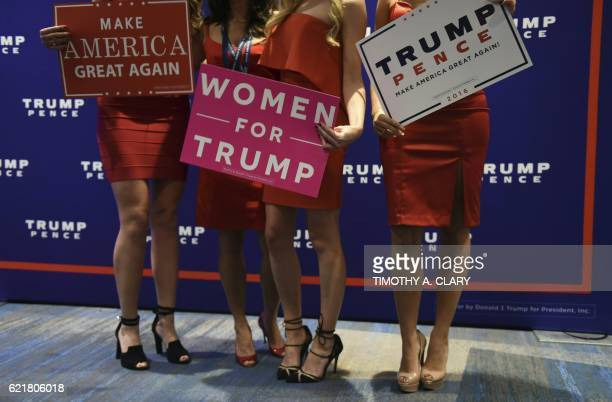 Supporters of Republican presidential nominee Donald Trump pose for photographs during election night at the New York Hilton Midtown in New York on...