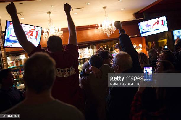 TOPSHOT Supporters of Republican presidential nominee Donald Trump react to Fox News calling Ohio for Trump at the Trump Bar inside Trump Tower in...