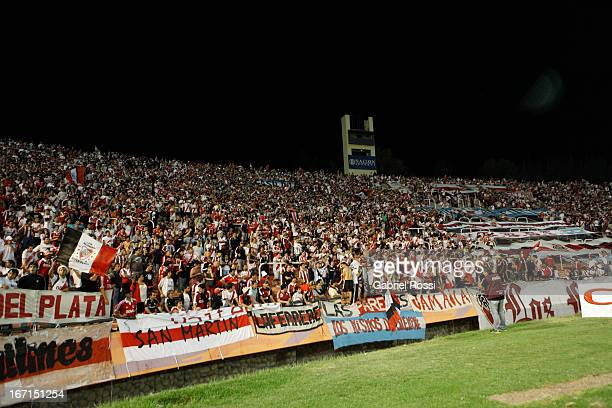 Supporters of River Plate before the match between Godoy Cruz and River Plate as part of the Torneo Final 2013 at the Estadio Mundialista Mendoza on...