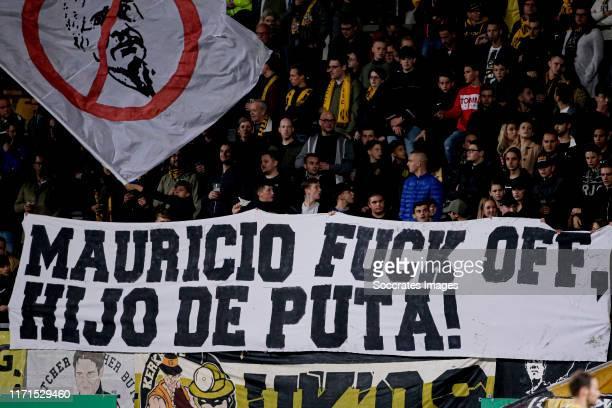 Supporters of Roda JC, banner during the Dutch Keuken Kampioen Divisie match between Roda JC v De Graafschap at the Parkstad Limburg Stadium on...