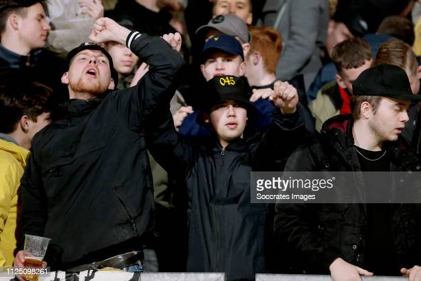 supporters of Roda JC during the Dutch Keuken Kampioen Divisie match between Roda JC v SC Cambuur at the Parkstad Limburg Stadium on February 15 2019...