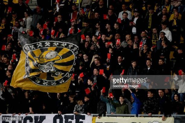 Supporters of Roda JC during the Dutch Keuken Kampioen Divisie match between Roda JC v De Graafschap at the Parkstad Limburg Stadium on September 27,...