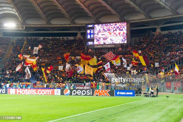 Supporters of Roma are seen during the UEFA Champions League Round of 16 First Leg match between AS Roma and FC Porto at Stadio Olimpico on February...