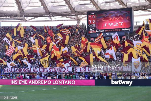 Supporters of Roma during the Serie A match between Roma and Lazio at Stadio Olimpico Rome Italy on 29 September 2018