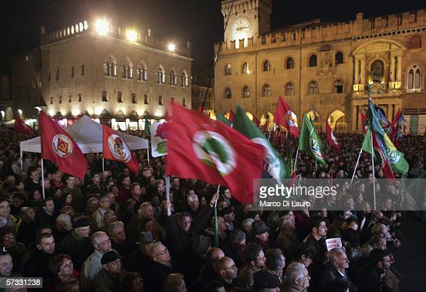 Supporters of Roman Prodi's left wing coalition L'Ulivo are seen on April 12 2006 as they attend Prodi's speech in Bologna Italy Thousands of people...