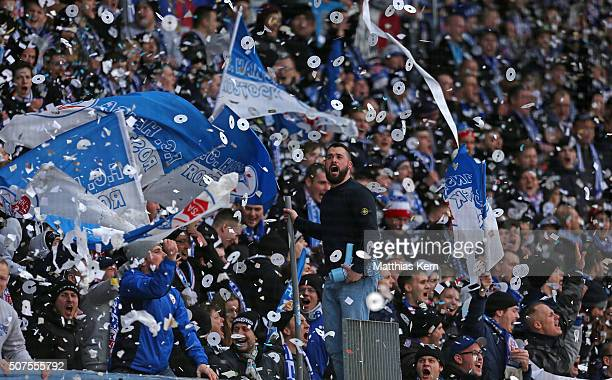 Supporters of Rostock celebrate the 50th birthday of Hansa Rostock during the third league match between FC Hansa Rostock and VFL Osnabrueck at...